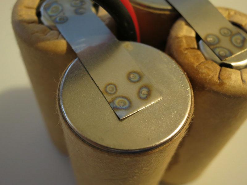 Close-up of spot welds